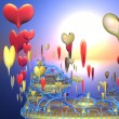 Foto Stock: Fantastic island with hearts