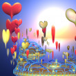 Fantastic island with hearts — Stockfoto