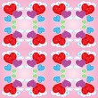 Vector de stock : Seamless pattern with hearts and clouds