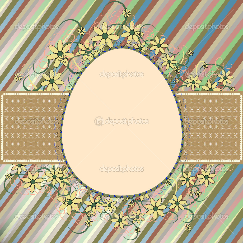 Easter frame with a retro patterned egg and flowers  Stock Vector #9527424