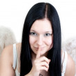 A beautiful black haired model wearing angel wings — Stock Photo #10018018