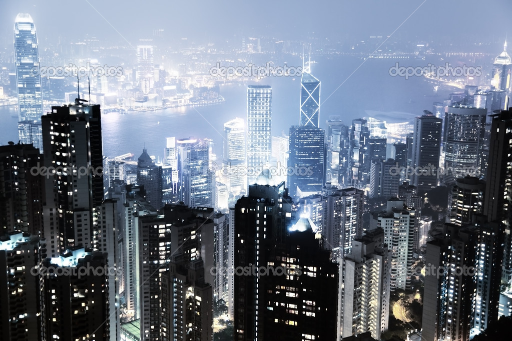 Hong Kong island from Victoria's Peak at night — Stock Photo #10035760