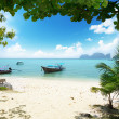 Long boat on Phi Phi island in Thailand — Stock Photo