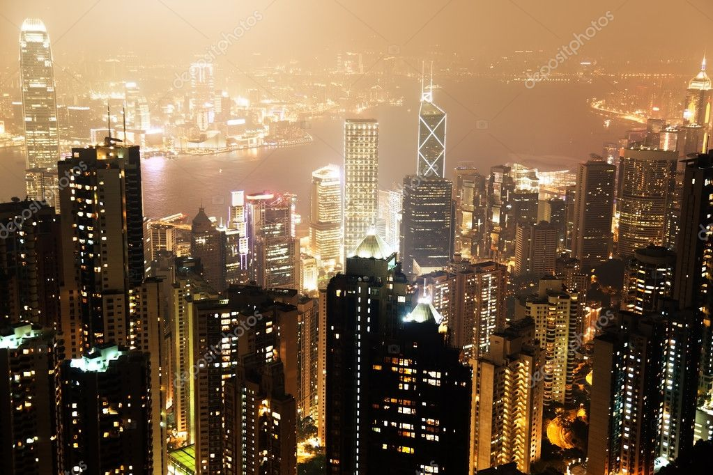 Hong Kong island from Victoria's Peak at night — Stock Photo #10200902