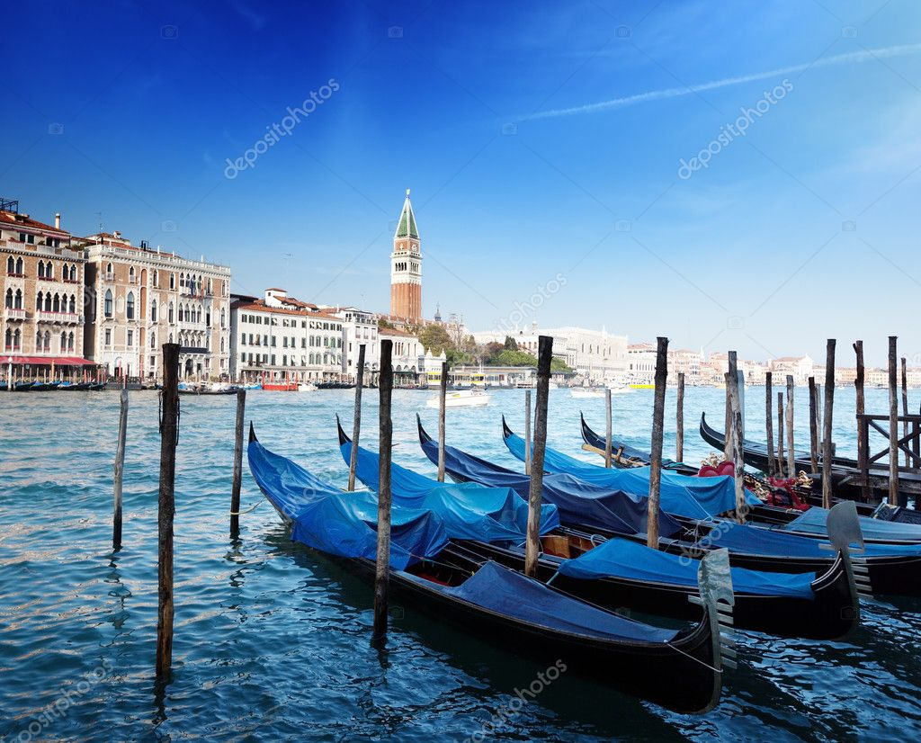 Gondolas on Grand Canal and St Marks Tower — Stock Photo #10201806