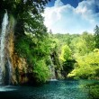 Waterfall in deep forest - Foto de Stock