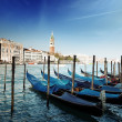 Royalty-Free Stock Photo: Gondolas on Grand Canal and St Marks Tower