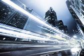 Provoz v hong kongu, v noci — Stock fotografie