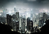 Hong Kong island from Victoria's Peak at night — 图库照片