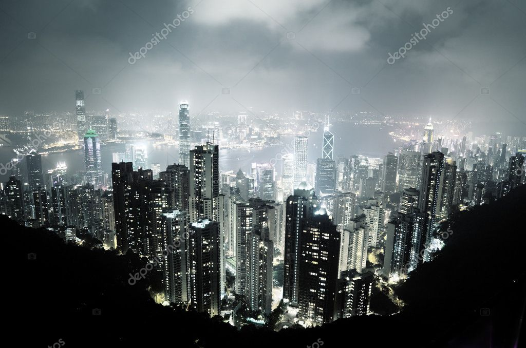 Hong Kong island from Victoria's Peak at night — Stock Photo #10486934