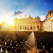 Saint Peter's Square in sunset time — Stock Photo