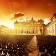Saint Peter's Square in sunset time - Stock Photo