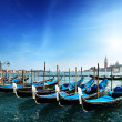 Gondolas on Grand Canal and San Giorgio Maggiore church in Venic — Stock Photo #8670120