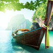 Boat and islands in andaman sea Thailand — Stock Photo