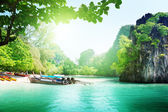 Long boats on island in Thailand — Stock Photo
