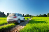 Spring field and blured car on ground road — Stock Photo