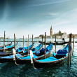 Gondolas on Grand Canal and San Giorgio Maggiore church in Venic — Stock Photo #9013118