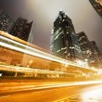 la circulation à hong kong dans la nuit — Photo