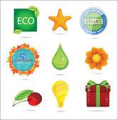 Glass magic eco nature symbols set — Stock Vector