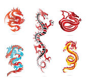 Glass asia hot dragon colored sign set — Stock Vector