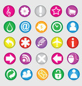 Shiny colored web social symbols set — ストックベクタ