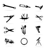 Black silhouettes of tools symbols set — Stock Vector