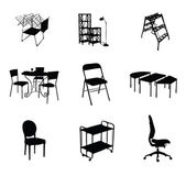 Silhouettes of furniture set black color — Stock Vector