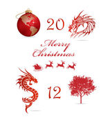 Merry christmas symbols set red color — Stock Vector
