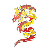Shiny asia fire dragon symbol — Vettoriale Stock
