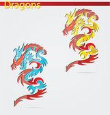 Parlak ve zarif din ejderha sembolü — Stok Vektör