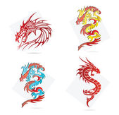 Glass creative elegance dragons symbols set — Stock Vector