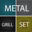 Stock Vector: Texture chrome metal grill set isolated