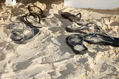 Flip flops on the beach (Beachwear) — Stock Photo