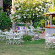 White table and chairs in beautiful garden. — Stock Photo