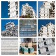 Collage residential building construction site — Stock Photo #10571096