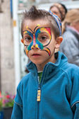 Jerusalem, Israel - 15 March 2006: Purim carnival. Little boy wi — Stock Photo