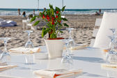 Wedding reception on the beach — Stock Photo