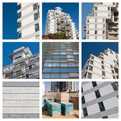 Collage residential building construction site — Stock Photo