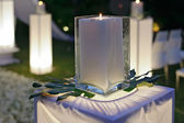 A wedding reception decorated with candles — Stock Photo