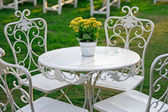 Yellow flowers in a bucket on a white table in the garden — Stock Photo