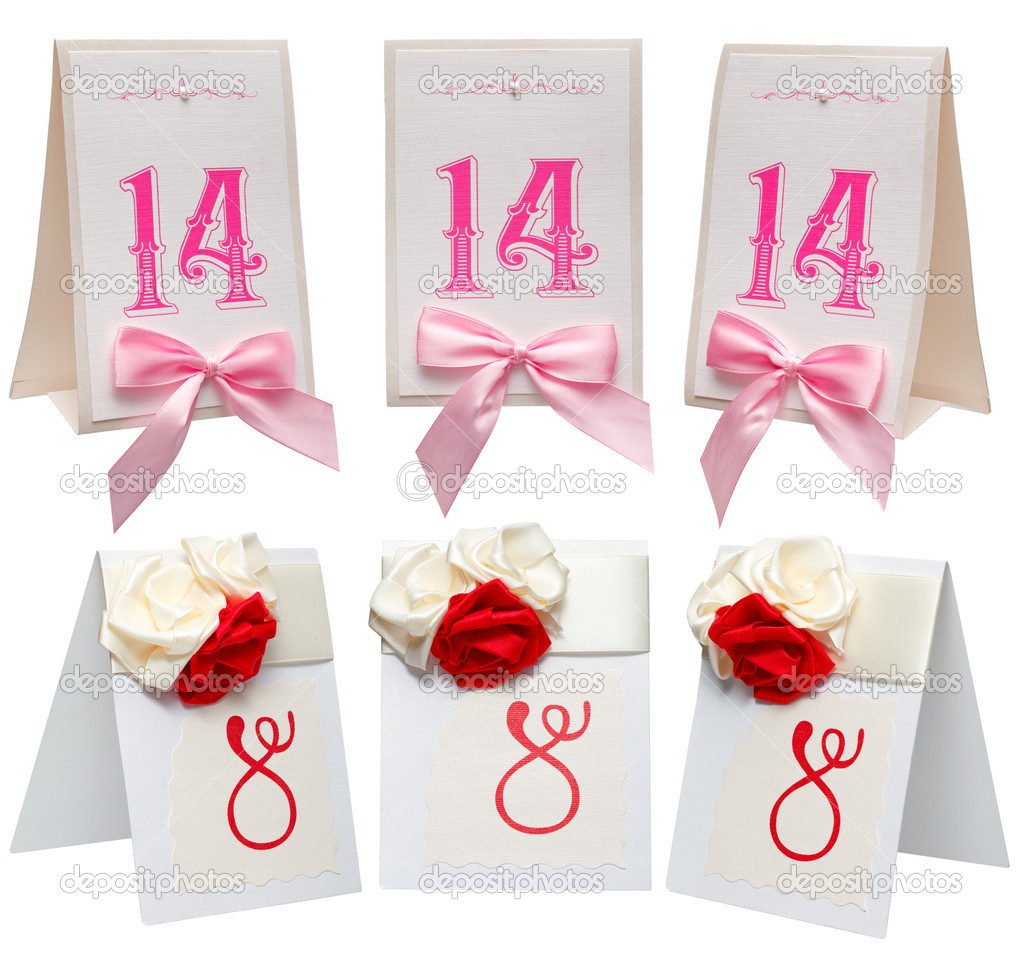 Set card note with ribbon on white background — Stock Photo #8638880