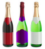 Three bottles of champagne on a white background — 图库照片