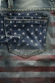 Flag Of America On Jeans. — Stock Photo