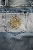 Flag Of Argentina On Jeans. — Stock Photo