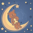 Stock Vector: Sweet dreams Teddy bear on moon