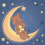 Sweet dreams Teddy bear on a moon — Stock Vector
