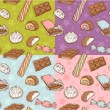 Vintage seamless texture with sweets - Stock Vector