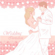 Bride and groom wedding card - Stok Vektör