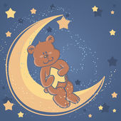 Sweet dreams Teddy bear on a moon — Stock Vector