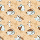 Coffee cups seamless pattern — Stock Vector